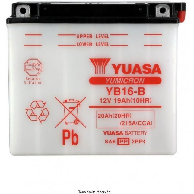 Batterie YUASA YB16-B avec entretien