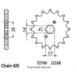 Pignon 50 à boite 12160CZ12 pour DERBI 50 00-05